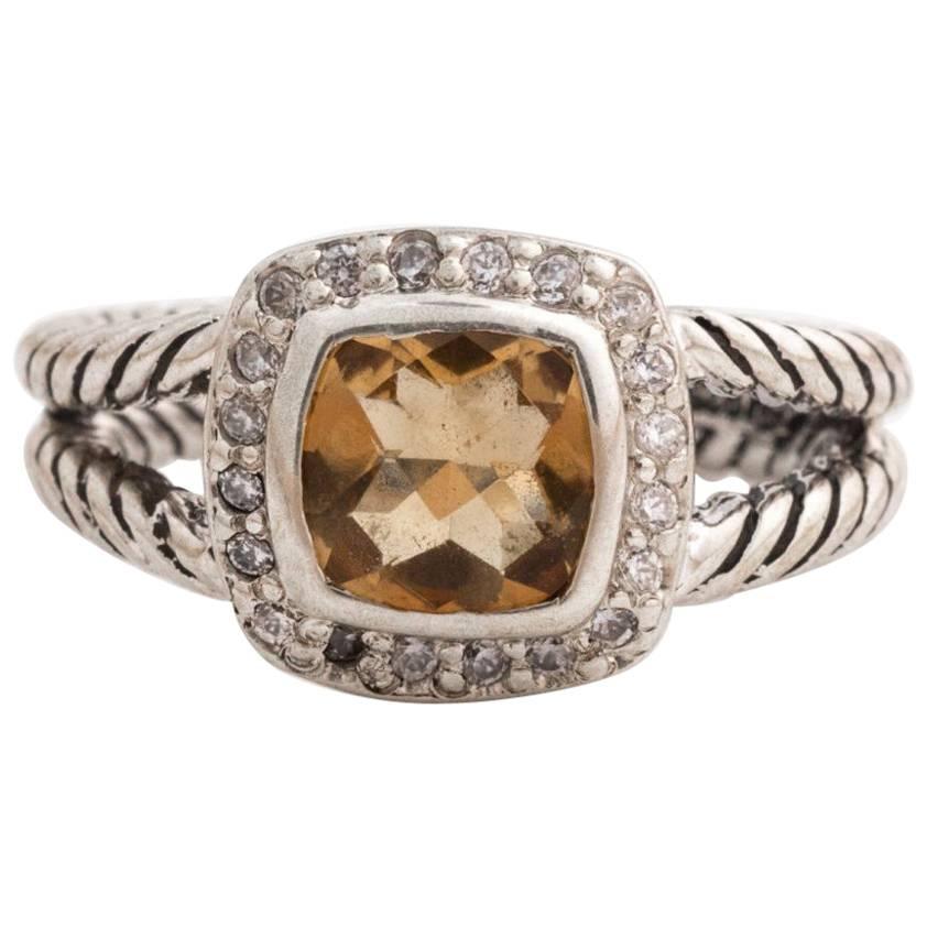 David Yurman Albion Citrine Ring with Diamond Halo, Sterling Silver