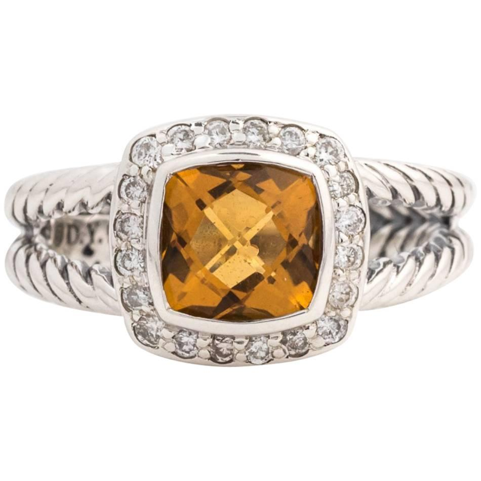 David Yurman Albion Citrine Ring with Diamond Halo in Sterling Silver