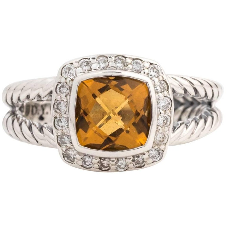 4ee6fdb8f3132d David Yurman Albion Citrine Ring with Diamond Halo in Sterling Silver For  Sale