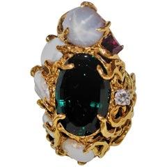 Barbara Anton Green Tourmaline Star Sapphire Diamond 18 Karat Gold Ring