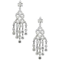 Chandelier Earrings with 16.94 Carat of VS Marquise, Pear and Round Diamonds
