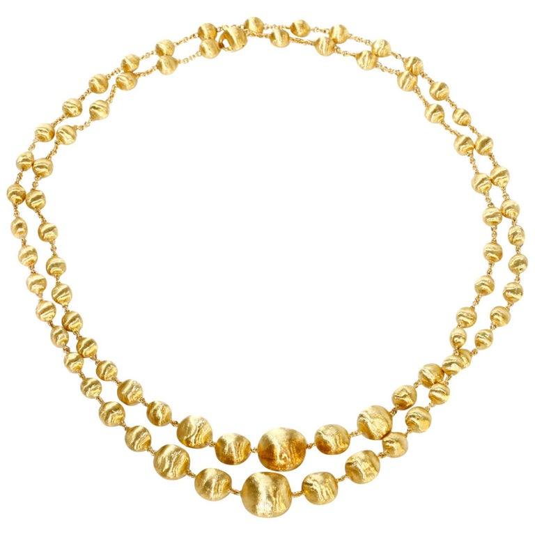 Marco Bicego Double Wave Necklace Africa Collection 18 Karat Yellow Gold