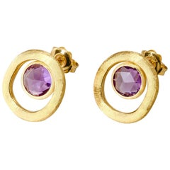 Marco Bigeco Amethyst Earrings Jaipur Color Collection 18 Karat Yellow Gold