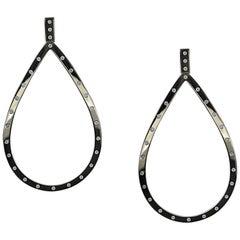 Front Facing Pear Shaped 18 Karat Gold and Diamond Hoop Drop Earrings