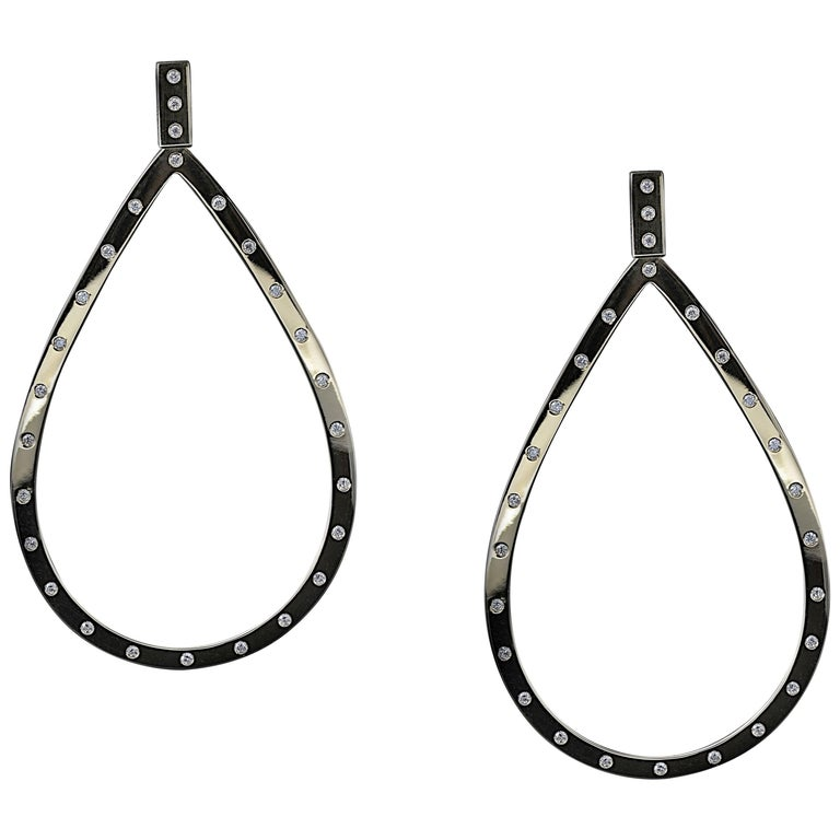 Front Facing Pear Shaped 18 Karat Gold And Diamond Hoop Drop Earrings For