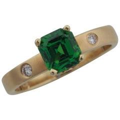 1.25 Carat Cushion Shape Tsavorite Garnet and Diamond 14 Karat Yellow Gold Ring