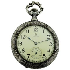 Omega Silver Pocket Watch circa 1894, First Year of Omega with Art Nouveau Motif