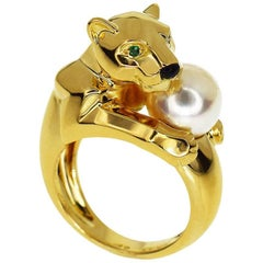 Cartier Emerald Onyx 18 Karat Yellow Gold Panthere Vedra Pearl Ring