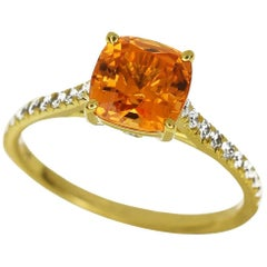 Tiffany & Co. 18 Karat Yellow Gold Legacy Orange Spessartite Garnet Ring US 6