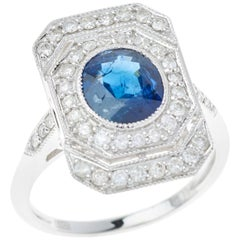 Sapphire Diamond Art Deco Style 18 Carat White Gold Dress Ring