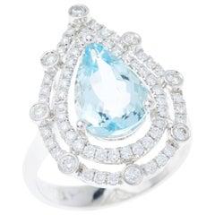 Aquamarine Diamond Double Halo Brilliant Cut Pear 18 Carat White Gold Dress Ring