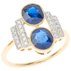 Sapphire Diamond Art Deco Style 18 Carat White Yellow Gold Dress Ring