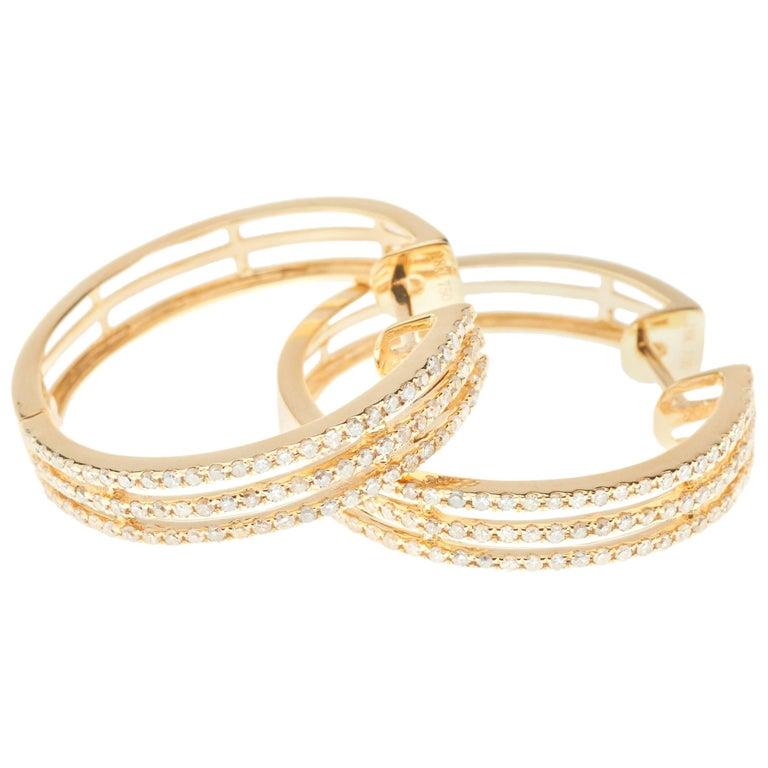 Hoop Diamond Earrings 18 Carat Yellow Gold