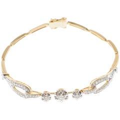 Art Deco Style Diamond Yellow Gold Two Tone Bracelet Bangle