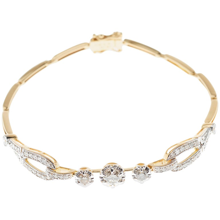 Art Deco Style Diamond Yellow Gold Two Tone Bracelet Bangle