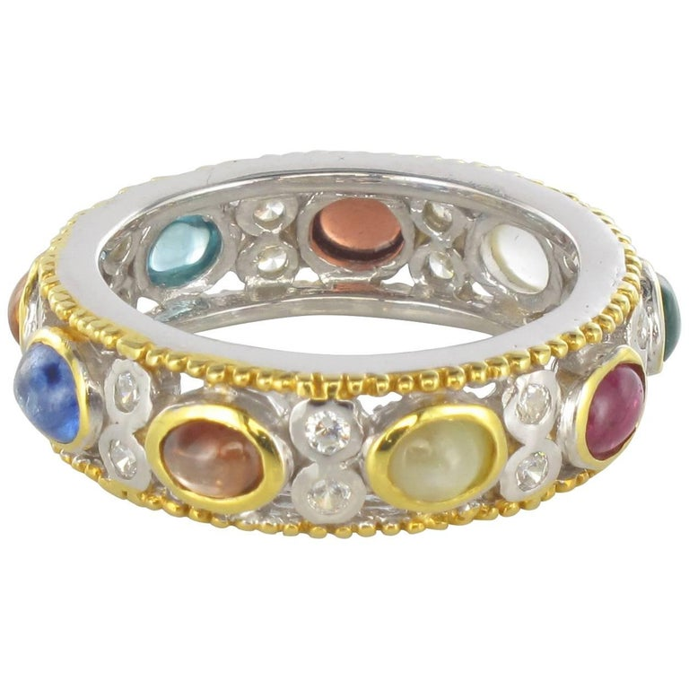 New White Brown Zircon Sapphire Ruby Agate Silver Band Ring