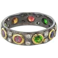 New Topaz Peridot, Tsavorite Garnet Sapphire Amethyst Black Silver Band Ring