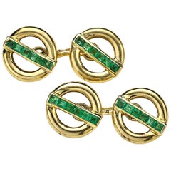 Pierre Brun French Emerald and Gold Cufflinks