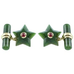 Gold Star Cufflinks Jade and Ruby
