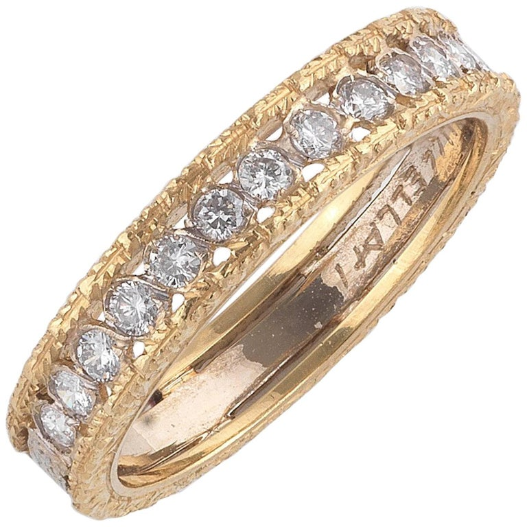 Buccellati Small Yellow Gold and Diamonds Cluster Band Ring