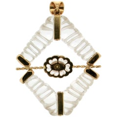 Rock Crystal 18 karat Yellow Gold Diamonds Pendant