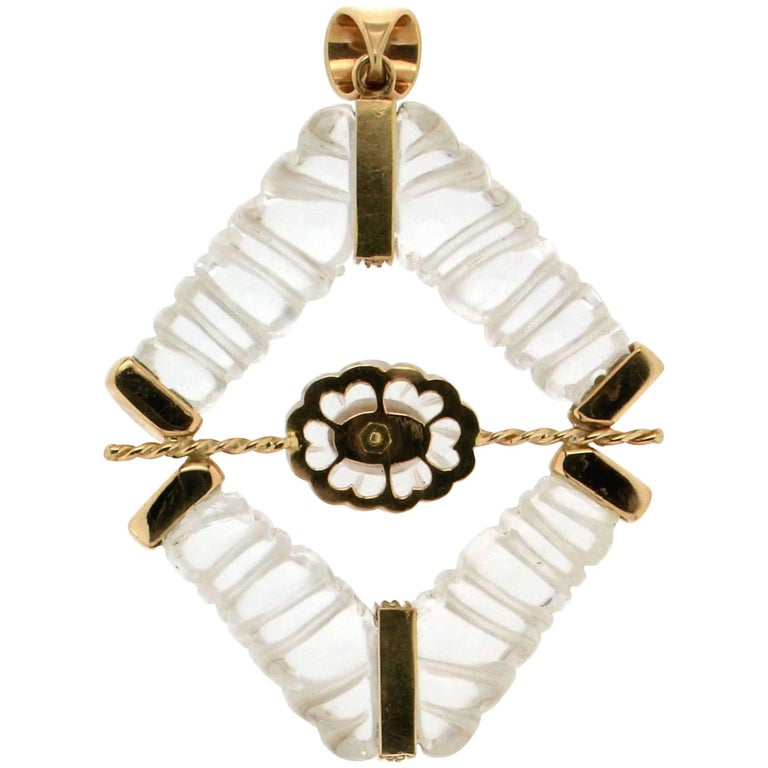 Rock Crystal 18 karat Yellow Gold Diamonds Pendant