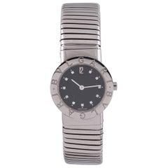 Bulgari Ladies Stainless Steel Tubogas Quartz Bracelet Wristwatch