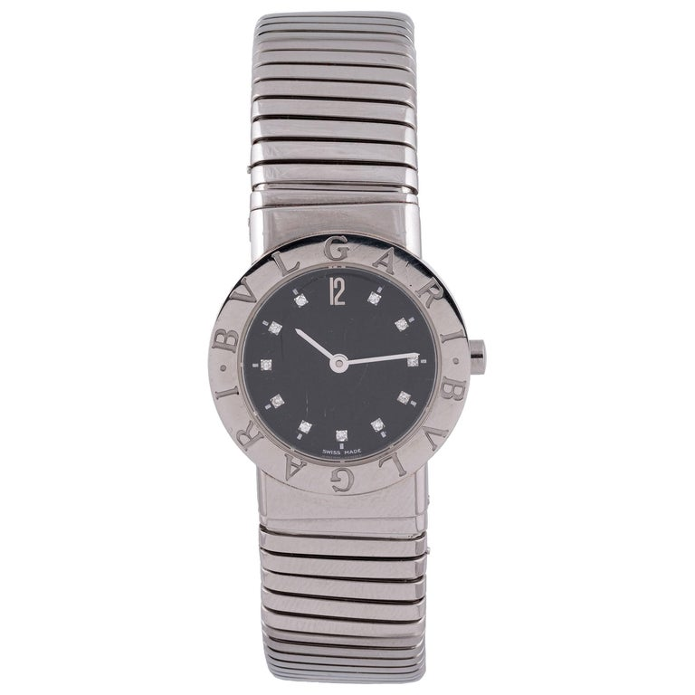 Bulgari Ladies Stainless Steel Tubogas Quartz Bracelet Wristwatch