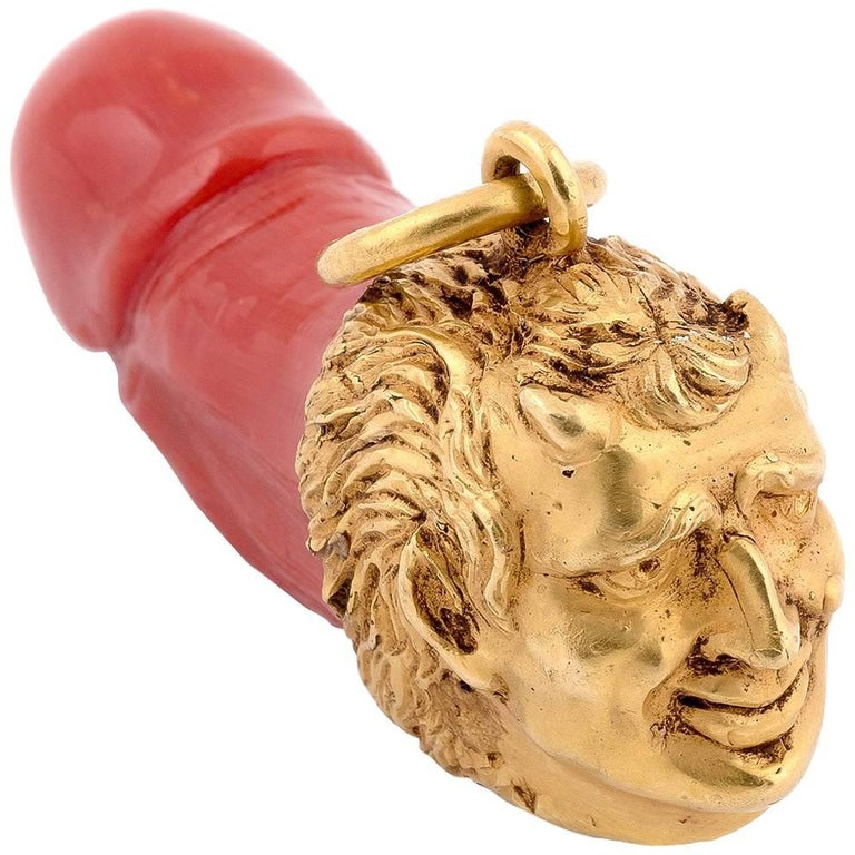 Gold Satyr And Coral Phallus Pendant At 1stdibs