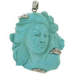 Turquoise Face Gold Diamonds Pendant