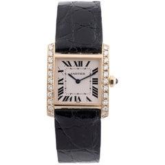 Cartier Yellow Gold Diamond Tank Francaise Quartz Wristwatch