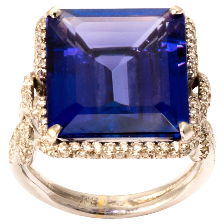Certified Natural Tanzanite and Diamond Cocktail Ring Band