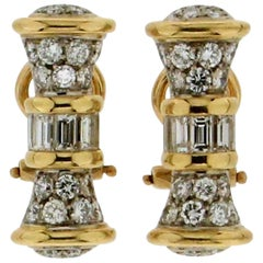 18 karat White and Yellow Gold Diamonds Clip-On Earrings