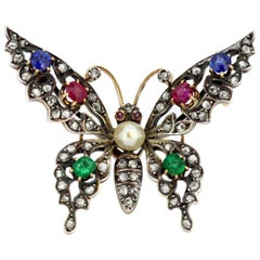 Victorian 15 Karat Gold and Sterling Silver Butterfly Brooch