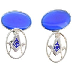 Sterling Silver Masonic Blue Enamel Cufflinks