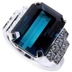 GIA Certified 6.58 Carat Octagonal Cut Blue Tourmaline Diamond Cocktail Ring