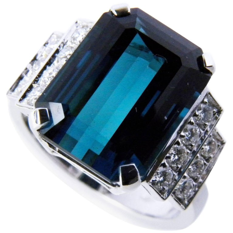 GIA Certified 6.58 Carat Octagonal Cut Blue Tourmaline Diamond Cocktail Ring