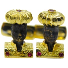 Little Blackamoor Hand Engraved Ruby 18 Carat Yellow Gold Setting Cufflinks