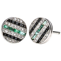 Diamond Black Onyx and Emerald Stud Earrings