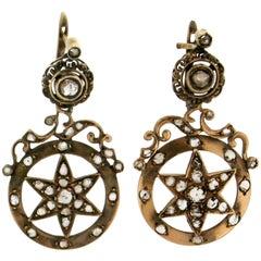 Gold Old Diamonds Drop Earrings