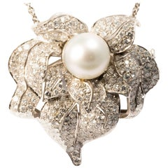Ansuini Diamonds and Pearl White Gold Evening Pendant Necklace and Pin