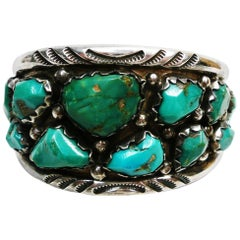 Zuni Native American Wayne Cheama Sterling and Turquoise Cuff Bracelet
