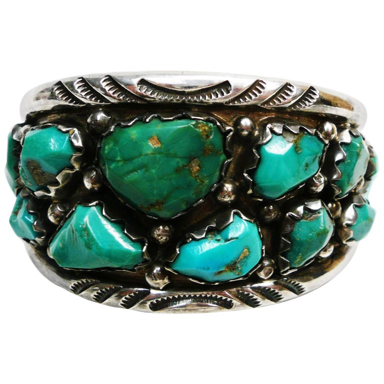 Zuni Native American Wayne Calavaza Sterling and Turquoise Cuff Bracelet