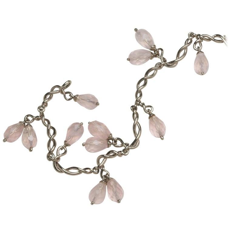 Annabel Eley White Gold Rose Quartz Twisted Link Bracelet