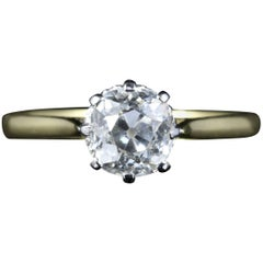 Antique Victorian Diamond Ring 1.35 Carat Diamond Vvs1 H Color