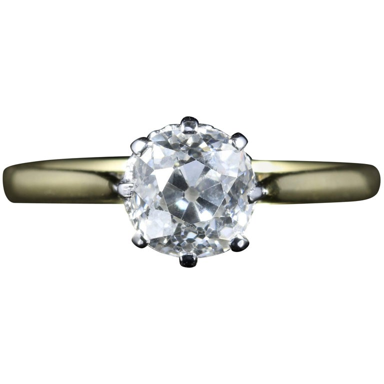 Antique Victorian Diamond Ring 1.35 Carat Diamond Vvs1 H Color