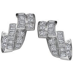 Art Deco Diamond Platinum Ribbon Earrings