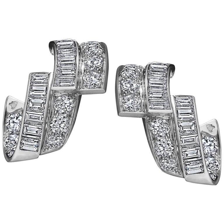 Art Deco Diamond Platinum Ribbon Earrings For Sale