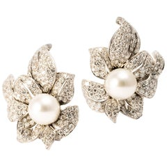 Ansuini Diamonds and Pearls 18K White Gold Orchid Earrings