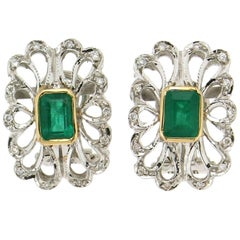 Colombian Emeralds White Gold Clip-On Earrings